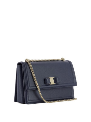 Salvatore Ferragamo: shoulder bags online - Ginny blue leather bag
