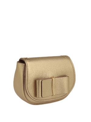 Salvatore Ferragamo: shoulder bags online - Vara bow small metallic leather bag