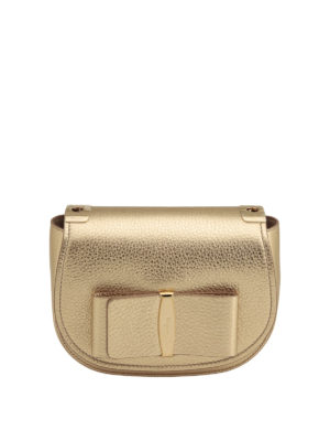 Salvatore Ferragamo: shoulder bags - Vara bow small metallic leather bag