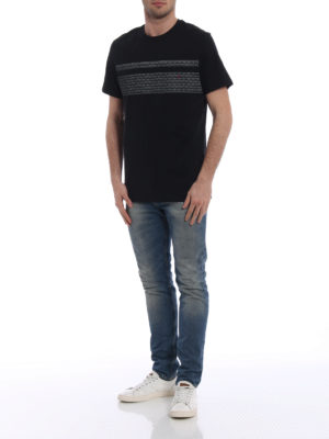 Salvatore Ferragamo: t-shirts online - Contrasting logo cotton black Tee