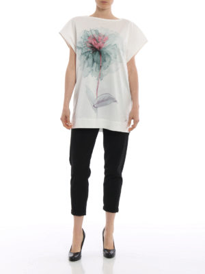 Salvatore Ferragamo: t-shirts online - Watercolor peony print over T-shirt