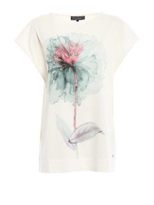 Salvatore Ferragamo: t-shirts - Watercolor peony print over T-shirt