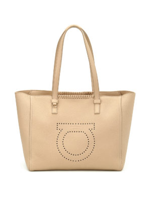 Salvatore Ferragamo: totes bags - Marta perforated logo tote