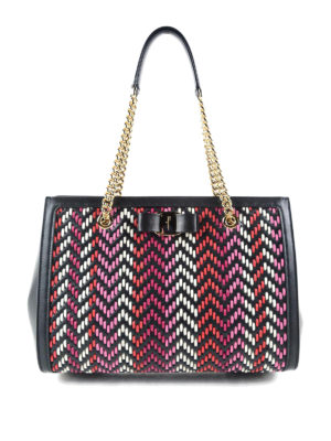 Salvatore Ferragamo: totes bags - Melike chevron detailed tote