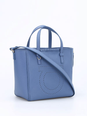 Salvatore Ferragamo: totes bags online - Marta pebbled leather small tote