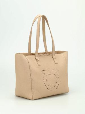 Salvatore Ferragamo: totes bags online - Marta perforated logo tote