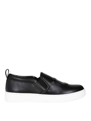 SALVATORE FERRAGAMO: sneakers - Slip-on Gancini in pelle nera