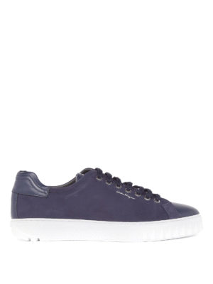Salvatore Ferragamo: trainers - Nubuck and leather blue sneakers