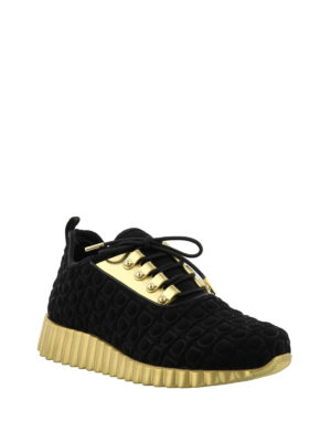 Salvatore Ferragamo: trainers online - Fabric and gold leather sneakers