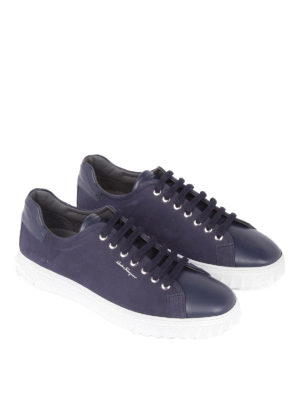 Salvatore Ferragamo: trainers online - Nubuck and leather blue sneakers