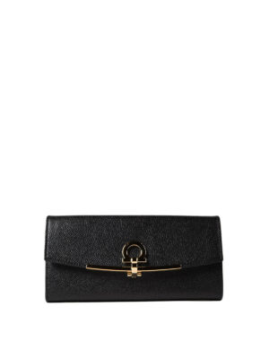 Salvatore Ferragamo: wallets & purses - Gancini clip black leather wallet