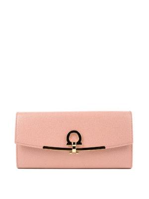 SALVATORE FERRAGAMO: portafogli - Portafoglio in pelle rosa con clip Gancini