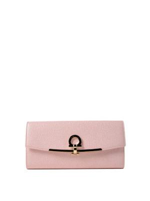 Salvatore Ferragamo: wallets & purses - Gancini clip pink leather wallet