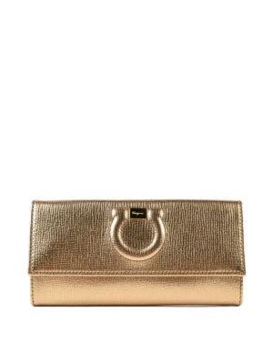 SALVATORE FERRAGAMO: portafogli - Portafoglio Gancini in pelle oro