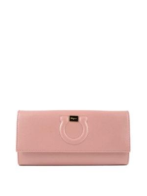 SALVATORE FERRAGAMO: portafogli - Portafoglio Gancini in pelle rosa