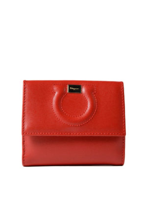 Salvatore Ferragamo: wallets & purses - Gancini red leather french wallet