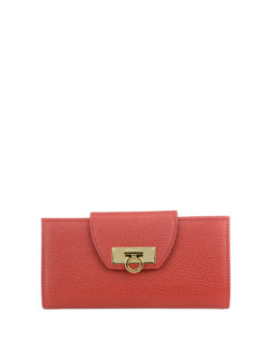 Salvatore Ferragamo: wallets & purses - Leather wallet with flap closure
