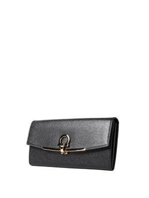 Salvatore Ferragamo: wallets & purses online - Gancini clip black leather wallet
