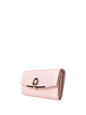 Salvatore Ferragamo: wallets & purses online - Gancini clip pink leather wallet