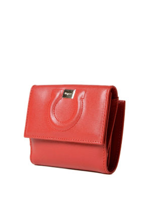 Salvatore Ferragamo: wallets & purses online - Gancini red leather french wallet