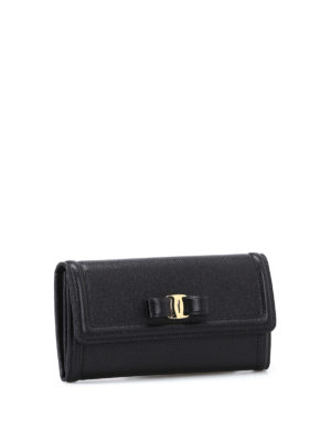 Salvatore Ferragamo: wallets & purses online - Vara bow black leather flap wallet