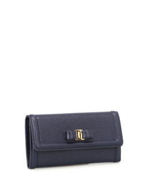 Salvatore Ferragamo: wallets & purses online - Vara bow mirto leather flap wallet