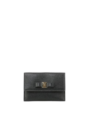 SALVATORE FERRAGAMO: portafogli - Portacarte nero in pelle con fiocco Vara