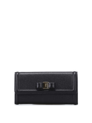 Salvatore Ferragamo: wallets & purses - Vara bow black leather flap wallet