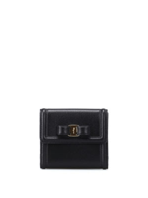 Salvatore Ferragamo: wallets & purses - Vara bow black leather wallet