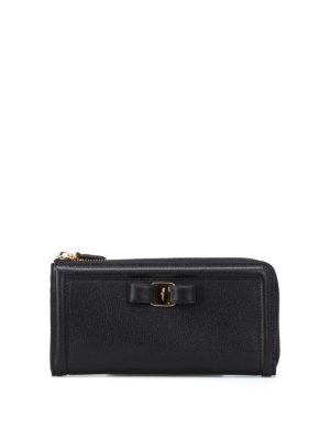 Salvatore Ferragamo: wallets & purses - Vara bow leather zip around wallet