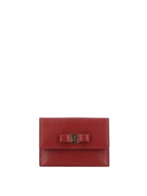 SALVATORE FERRAGAMO: portafogli - Portacarte rosso in pelle con fiocco Vara