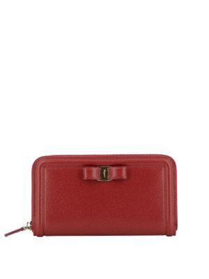 SALVATORE FERRAGAMO: portafogli - Portafoglio rosso in pelle con fiocco Vara