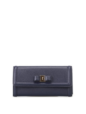 Salvatore Ferragamo: wallets & purses - Vara bow mirto leather flap wallet