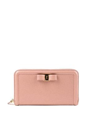 SALVATORE FERRAGAMO: portafogli - Portafoglio continental Vara in pelle rosa