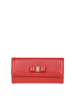 SALVATORE FERRAGAMO: portafogli - Portafoglio Vara in pelle rossa