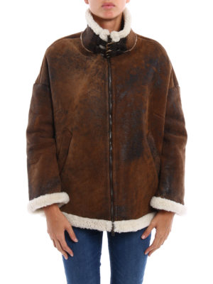 Salvatore Santoro: Fur & Shearling Coats online - Shearling coat with zip and buckles
