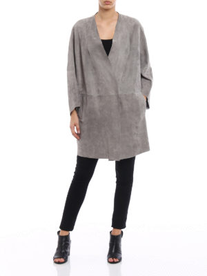 Salvatore Santoro: leather coats online - Grey suede coat