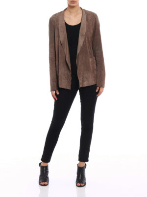 Salvatore Santoro: leather jacket online - Soft suede open front jacket