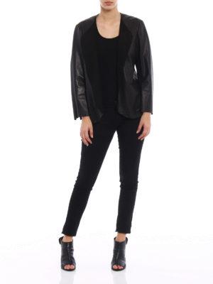 Salvatore Santoro: leather jacket online - Stretch leather open front jacket