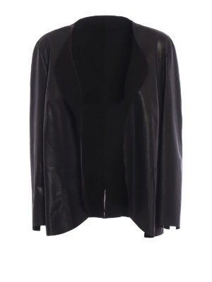 Salvatore Santoro: leather jacket - Stretch leather open front jacket