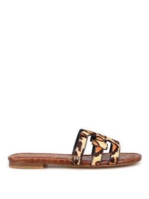 SAM EDELMAN: sandals - Bay leo print cow hair slide sandals