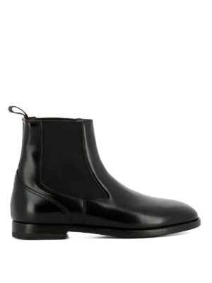 Santoni: ankle boots - Brushed black leather ankle boots