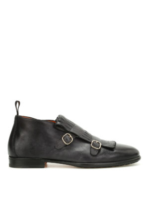 Santoni: ankle boots - Fringed monk strap ankle boots