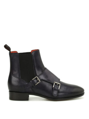 Santoni: ankle boots - Monk strap leather Chelsea boots
