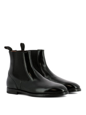 Santoni: ankle boots online - Brushed black leather ankle boots