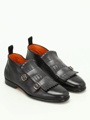 Santoni: ankle boots online - Fringed monk strap ankle boots