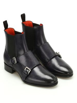 Santoni: ankle boots online - Monk strap leather Chelsea boots