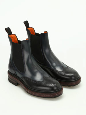 Santoni: ankle boots online - Two-tone leather Chelsea boots