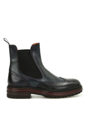 Santoni: ankle boots - Two-tone leather Chelsea boots