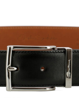 Santoni: belts online - Black leather belt